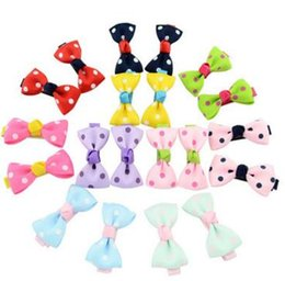 Wholesale Cute Childrens Girls Hair - Baby Girls Dots Bow Cute Hairpins Grosgrain Ribbon Bows With Alligator Clips Childrens Hair Accessories Kids Bow Barrette Clips Christmas