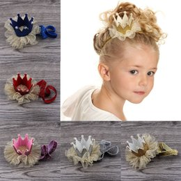 Wholesale pearls paper - baby hair accessories hair clips Cute Baby Girls Crown Princess Hair Clip Gold Glitter Lace Pearl Headband Tiara