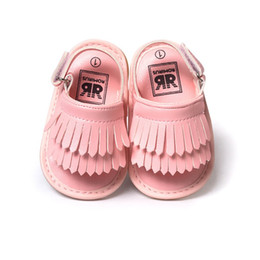Wholesale Toddler Canvas Slippers - Wholesale- Summer Baby First Walkers Soft Bottom Fringe Candy Color Shoes Girls Baby Toddler Slippers Boys Prewalkers
