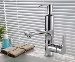Wholesale Soap Dispenser Deck Mount - Free shipping kitchen or basin tap kitchen faucet with soap dispenser New modern Brass Chromed waterfall faucet water tap KF442