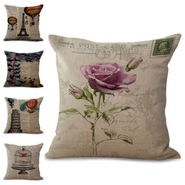 Wholesale Cushion Eiffel - Newspaper Flower Bird Cage Pisa Eiffel Tower Throw Pillow Cases Cushion Cover Pillowcase Linen Cotton Square Pillow Case Pillow Slip 240647