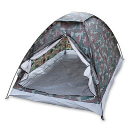 Wholesale Two Person Beach Tent - Outdoor Portable Beach Tent Camouflage Camping Tent for 2 Person Single Layer Polyester Fabric Tents PU1000mm Carry Bag Travel