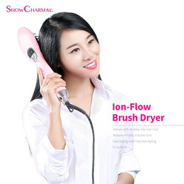 Wholesale Ion Comb - Original ShowCharm Ion-flow Hair Dryer Brush Dryer Electric Hair Dryer Comb With LCD Display Blow Brush Hair Styling Tools