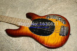 Wholesale Quilted Mahogany - Wholesale-2015 New + Factory + quilted maple top mahogany body musicman bass sunburst two pickups music man bass guitar deluxe bass