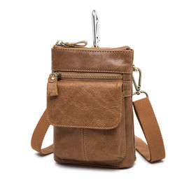 Wholesale Vintage Canvas Camera Bags - 7 Inches Leather Wallet Waxy Vintage Men's Wallet Coffee Iphone Camera Single small Shoulder Bag Cross Body Men's Waist Bag