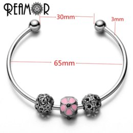 Wholesale Stainless Metal Beads - REAMOR 316l Stainless Steel Simple Pink Enamel Flower Beads Women Charm Adjustable Cuff Open Metal Bracelet & Bangle For Lover