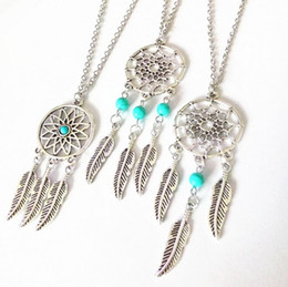 Wholesale Fringe Charm - Ethnic fringes Su feather wings turquoise catch the dream net necklace explosion section WFN416 (with chain) mix order 20 pieces a lot