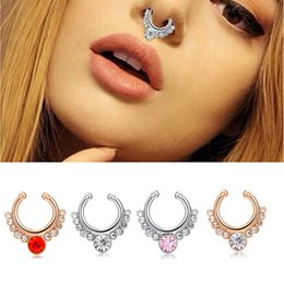 Wholesale Wholesale Septum Rings - 2017 Fashion Crystal Fake Nose Ring Piercing Body Jewelry For Women Girls Septum Clicker Non Piercing Hanger Clip Hoop Bijoux Gift Wholesale