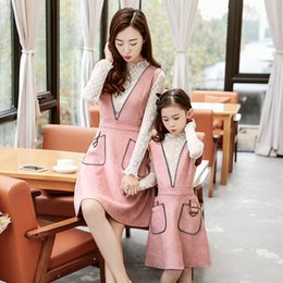 Wholesale Coffee Brown Dress - Family Dress Mother Daughter Dresses 2017 Girls Audlt Lace Leather Dress Women Party Dress Mom Girls Princess Dresses Pink Coffee A7258