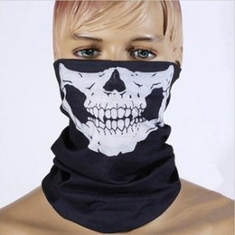 Wholesale Skeletons Motorcycles - Wholesale-Halloween Skull Skeleton Party Masks Black Motorcycle Multi Function Headwear Hat Scarf Neck Scary Sport Face Winter Ski Mask