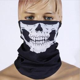Wholesale Scary Skeleton Masks - Wholesale-Halloween Skull Skeleton Party Masks Black Motorcycle Multi Function Headwear Hat Scarf Neck Scary Sport Face Winter Ski Mask