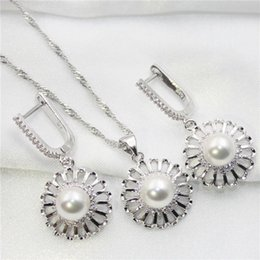 Wholesale White Tungsten Engagement Setting - Elegant fashion imitation pearl earrings necklace Mosaic crystal jewelry sets for women's wedding