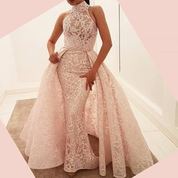 Wholesale Dresses Party Over - Stunning Fabulous Mermaid Evening Gowns With Over-skirt High-Neck Lace-Appliques Sleeveless Evening Party Dress New Gorgeous Celebrity Dress