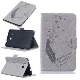 Wholesale Printing Tabs - For Samsung Galaxy Tab A 7.0 T280 T285 Tablet Leather Case Filp Cover Wallet Stand With Card Slot Embossed Feather bird Desgin