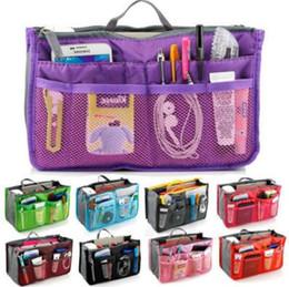 Wholesale Travel Bag Inserts - 13 Colors Dual Bag In Bag Women Insert Handbag Organizer Purse Makeup Case Storage Liner Bag Tidy Travel Insert Storage Bags CCA6643 100pcs