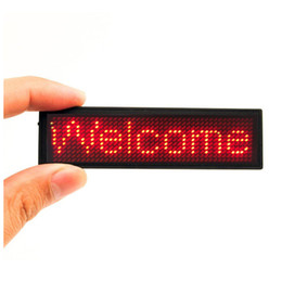 Wholesale Name Led - LED scrolling name badge club programmable card Mini display rechargable led name card tag advertising display board