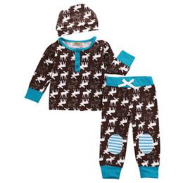 Wholesale Girls Owl Top - INS Baby Long sleeved Xmas full print deer 3pc set boys girls christmas romper tops & owl floarl pants & baby hat