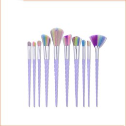 Wholesale Professional Synthetic Makeup Brushes - Unicorn Makeup Brushes 10PCS Makeup Brushes Tech Professional Beauty Cosmetics Brushes Sets Free Shipping B006