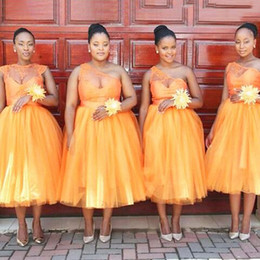 Wholesale one sleeve lace bridesmaid - Orange Bridesmaid Dress Tea-length Hot Bridesmaid Dresses Ball Gowns One shoulder African Fashion Bridesmaid Dresses vestido