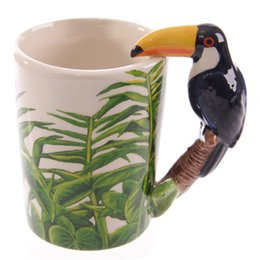 Wholesale Ceramic Cups Handles - 7 Style 3D Animal Shape Mugs Panda Frog Woodpecker Parrot Dolphin Penguin Shaped Drinkware Ceramic Coffee Milk Tea Cups with Handle
