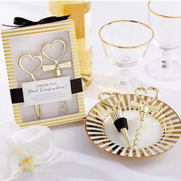 Wholesale heart cheer - 200pcs=100Sets lot Gold Cheers to a Great Combination Wine Set Heart Wine Stopper Corkscrew Wedding Favors Party Gifts Free Ship