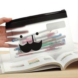Wholesale Wholesale Moustache Cases - Wholesale- Transparent Moustache Smile Office Cosmetic Make Up Pencil Bag Pouch Case Cute