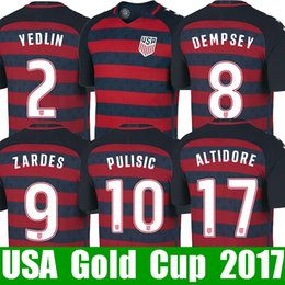 Wholesale National Jerseys - Cheap Thailand Fans USA soccer jersey Gold cup 2017 2018 United states national jerseys 17 18 DONOVAN YEDLIN BRADLEY ALTIDORE fooball shirt