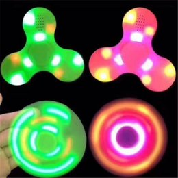 Wholesale Light Music Top - LED Bluetooth Music Fidget Spinner Spinning Toys Hand Spinners Triangle Finger Spinning Top Colorful Decompression Fingers Light up Toy