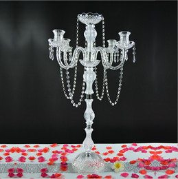 """Wholesale Tall Crystal Candle Holders - 10pcs lot 35.4"""" tall 5 arms acrylic crystal candelabra centerpiece candle holder wedding event table decor candlestick flower stand holder"""