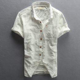 Wholesale Batik Mens Shirt - Wholesale- Mens Short Sleeve Shirts Cotton Linen Slim Turn-down Collar Men Brand Clothing Plus Size M-4XL Camisa Masculina