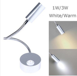 Wholesale Novelty Wall Lamps - free ship Silver Flexible Hose LED Modern Wall Lamp 1W 3W Flexible Arm Light Lamp Bedside Reading Light Study Painting Wall Lighting