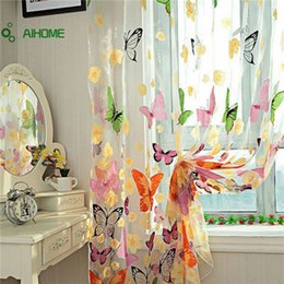 Wholesale Fabric Sheers - Wholesale- Butterfly Flower Print Door Window Balcony Sheer Panel Screen Curtains Burnout Tulle Volie Soft Curtain Divider Home Decorations