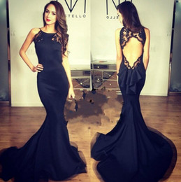 vestidos de cetim sexo Desconto Vestido Novo Vestido longo preto do partido arrvial Vestidos Sex Open Back Mermaid Satin Prom Party
