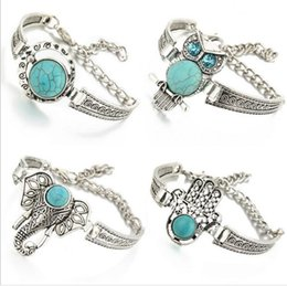 Wholesale Silver Turquoise Stone Chain Bracelet - New Silver Color Bracelet Owl Elephant Women Bohemian Blue Stone Retro Fashion Charm Bracelets Bangles Jewelry