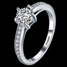 бриллиантовое кольцо Скидка Изысканный полный Белый CZ Алмаз 18KRGP белое золото покрытием сверкающих женщин девушка свадьба палец кольца ювелирные изделия оптовая цена