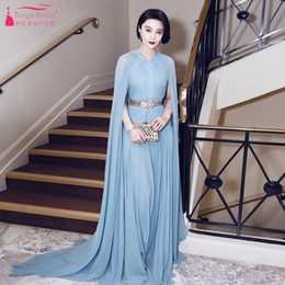 Wholesale Fan Dresses - Bingbing Fan 2017 The Cannes Film Festival Evening dresses A Line soft Chiffon O-Neck Luxury Prom Dresses With Wrap and pleats Mordern dress
