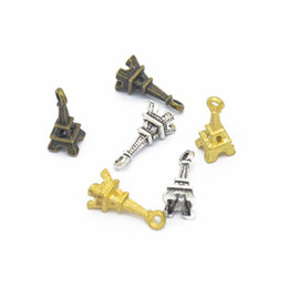 Wholesale Mini Craft Beads - Wholesale 120pcs 17*7mm four color 3D mini vintage Eiffel Tower charms fit for Pendant European Style DIY jewelry findings crafts CN372