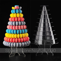 Wholesale Macaron Tower - Wholesale- new style can free combination 10 layer clear acrylic Tower macaron Display stand or wedding party Dessert Display Free shipping