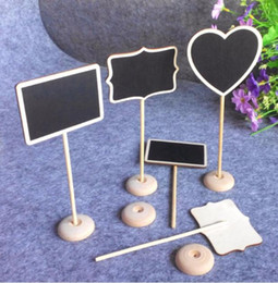 Wholesale Free Standing Chalkboard - Message Wooden Board Irregular Mini Blackboard Chalkboard Holder with stand for Party Wedding Table Decoration Free Shipping