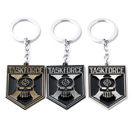 Wholesale Ring Force - Suicide Squad Moive Jewelry TASK FORCE Letters Key Chain Alloy Skull Head Key Chain & Key Ring For Gift