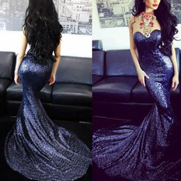 Wholesale Cheap Simple Pageant Dresses - Navy Blue 2017 Mermaid Prom Dresses Sequins Sweetheart Neck Zip Back Sweep Train Long Cheap Pageant Dress Ball Gowns