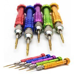 Wholesale Alloy Screws - Colorful Professional Aluminum Alloy Disassembly 5 in 1 Repair Open Tool Screwdrivers Set Tools Kit Precision Screws For Mobile Phone