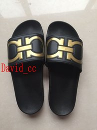 Wholesale Men Eva Sandals - new arrival 2017 mens fashion causal rubber sandals Gancini brand black gold slide sandals summer outdoor beach slippers 40-45