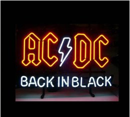 Wholesale Pub Restaurant - Fashion Handcraft AC DC BACK IN BLACK LOGO Real Glass Tubes Beer Bar Pub Display neon sign 19x15!!!