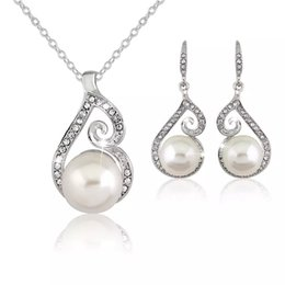 Wholesale Platinum Indian - New AAA Cz Crystal Pearl Necklace Earrings sets Fashion Party Wedding Platinum Silver Plated Women Jewelry Sets