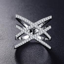 платиновые кольца для девочек Скидка Hotsale Женская Мода Кольцо Из Розового Золота с Покрытием из Платины Покрытием Кубического Циркона Двойной X Кольца для Девочек Женщин Хороший Подарок