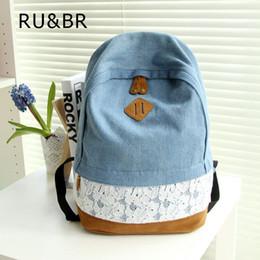 Wholesale Denim Backpacks For Women - Wholesale- RU&BR New 2015 Fresh Lace Denim Women Canvas Backpack School bag For Girl Ladies Teenagers Casual Travel bags Schoolbag Bagpack