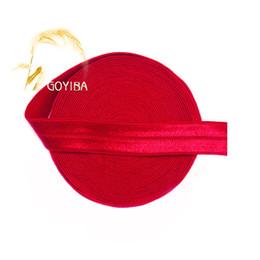 "Wholesale Baby Hair Elastics - Wholesale- GOYIBA 5 Yard 5 8"" 1.5cm Poppy Red Solid FOE Foldover Elastics Spandex Satin Baby Hairband Headband Lace Trims DIY Sewing Notion"