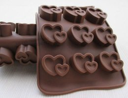 Wholesale Flexible Cake Molds - Heart pudding ice tray Cake Mold Flexible Silicone Soap Mold For Handmade Soap Candle Candy bakeware baking moulds kitchen tools ice molds