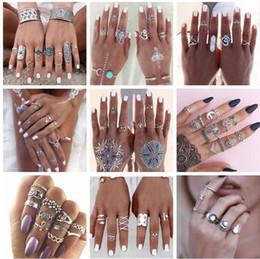 2019 anel de casal de ouro branco de 14k 27 estilos de alta qualidade da cor do ouro flor midi conjuntos de anel para as mulheres da cor prata boho praia do punk elefante turco lua lua knuckle anel
